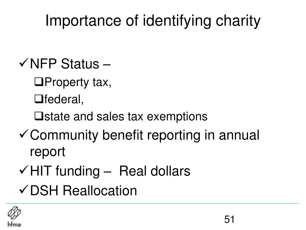 Importance of identifying charity