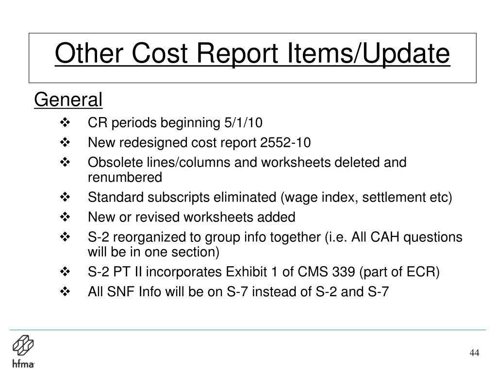 Other Cost Report Items/Update