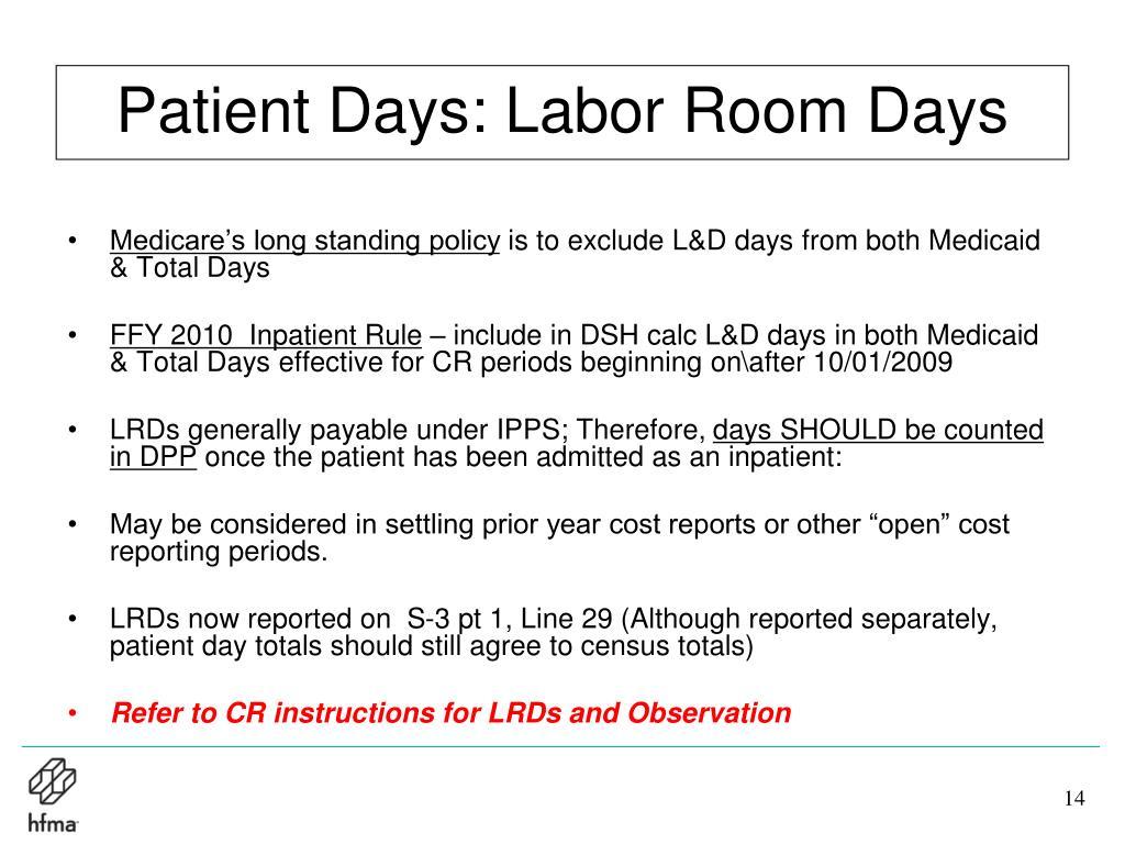 Patient Days: Labor Room Days