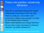 theory into practice conserving behaviour