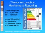 theory into practice monitoring reporting