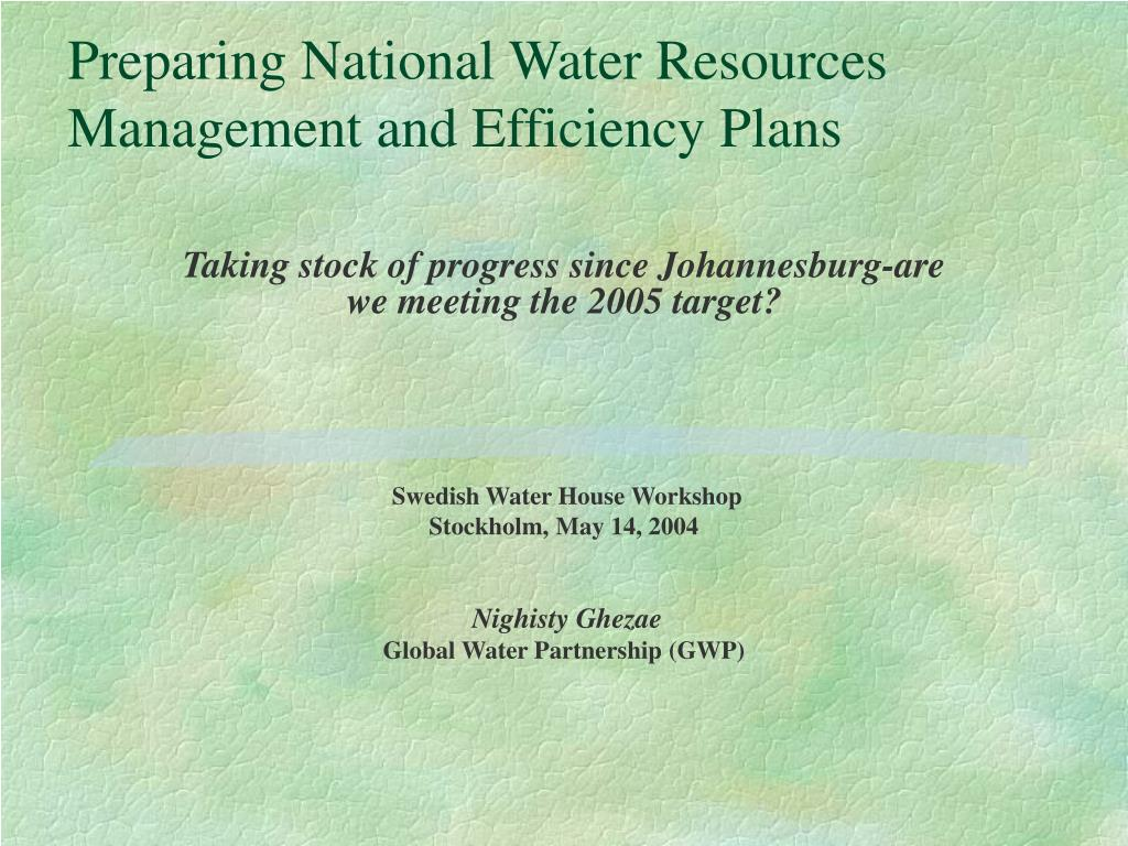preparing national water resources management and efficiency plans l.