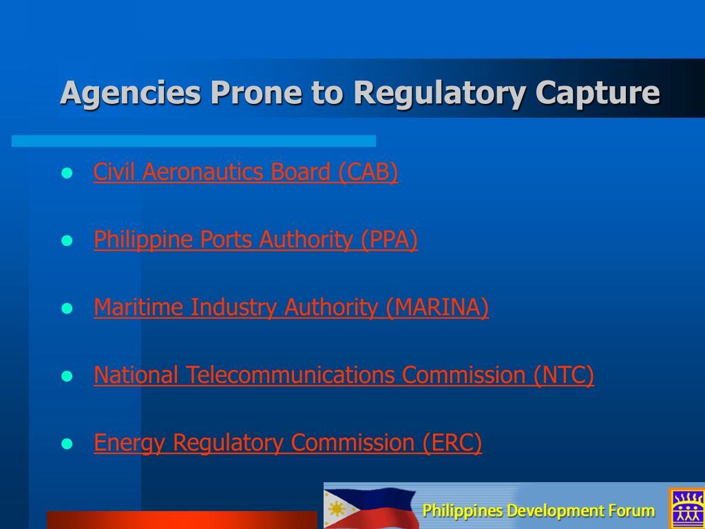 Agencies Prone to Regulatory Capture