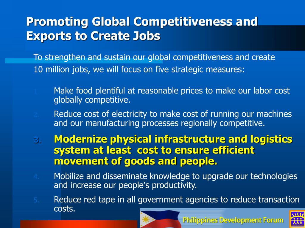 Promoting Global Competitiveness and Exports to Create Jobs