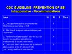 cdc guideline prevention of ssi intraoperative recommendations