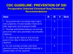 cdc guideline prevention of ssi preoperative infected colonized surg personnel recommendations
