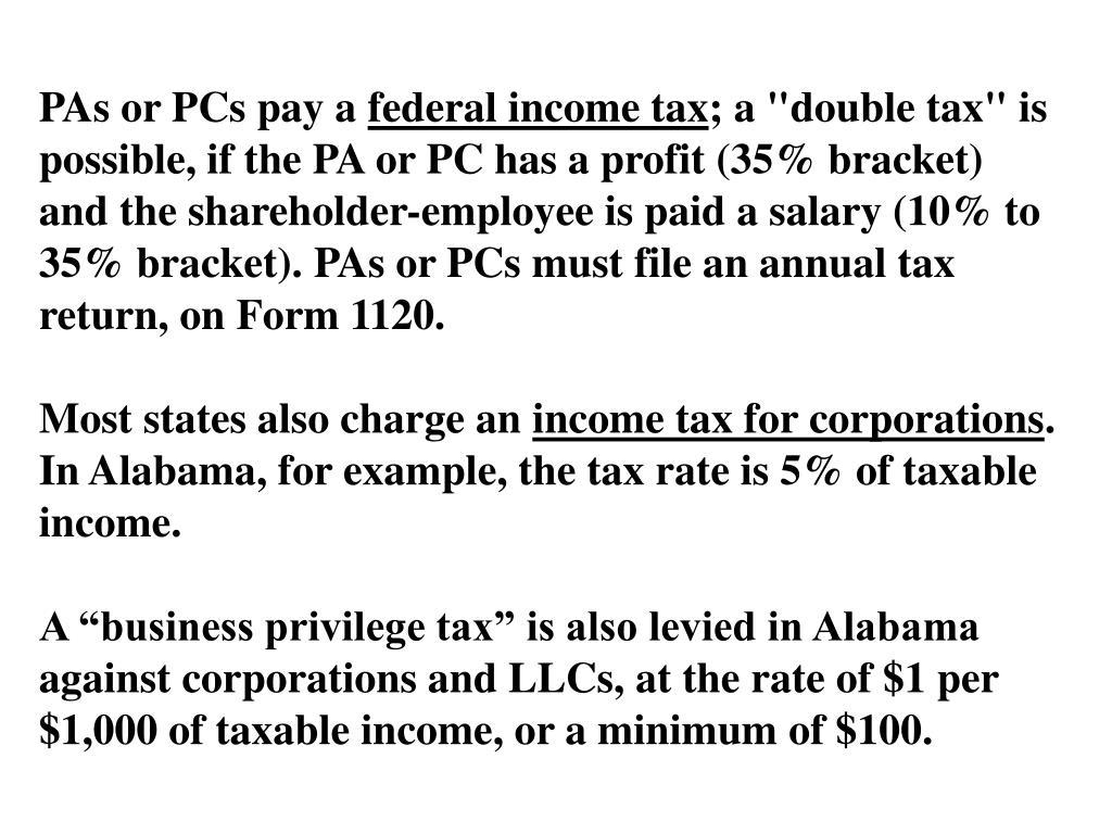 PAs or PCs pay a