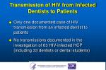 transmission of hiv from infected dentists to patients
