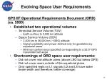 evolving space user requirements