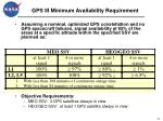 gps iii minimum availability requirement