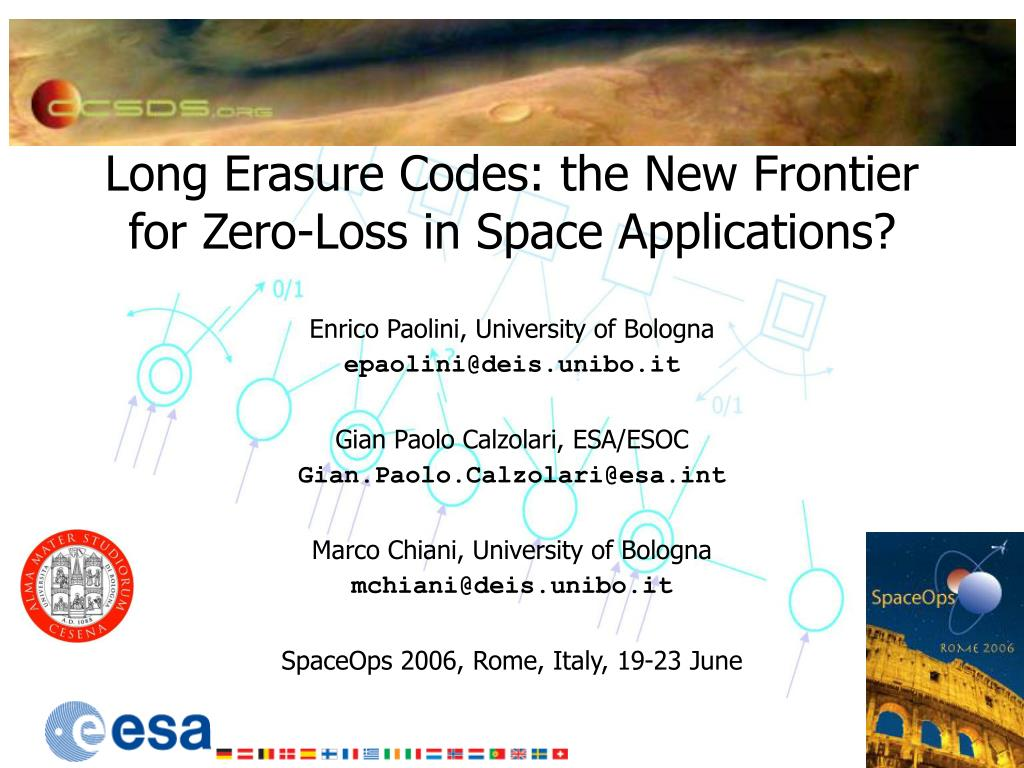 long erasure codes the new frontier for zero loss in space applications l.