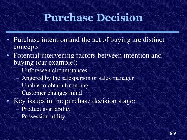 purchase decision example
