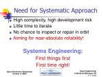 need for systematic approach