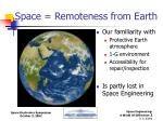 space remoteness from earth