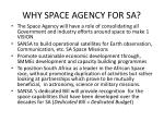 why space agency for sa
