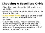 choosing a satellites orbit