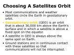 choosing a satellites orbit14
