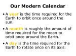 our modern calendar