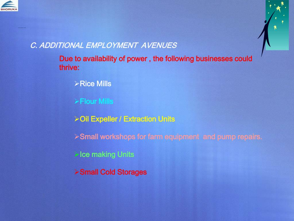 ADDITIONAL EMPLOYMENT  AVENUES