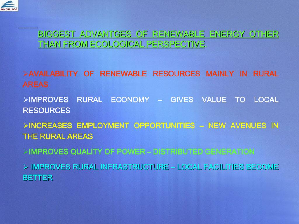 BIGGEST ADVANTGES OF RENEWABLE ENERGY OTHER THAN FROM ECOLOGICAL PERSPECTIVE