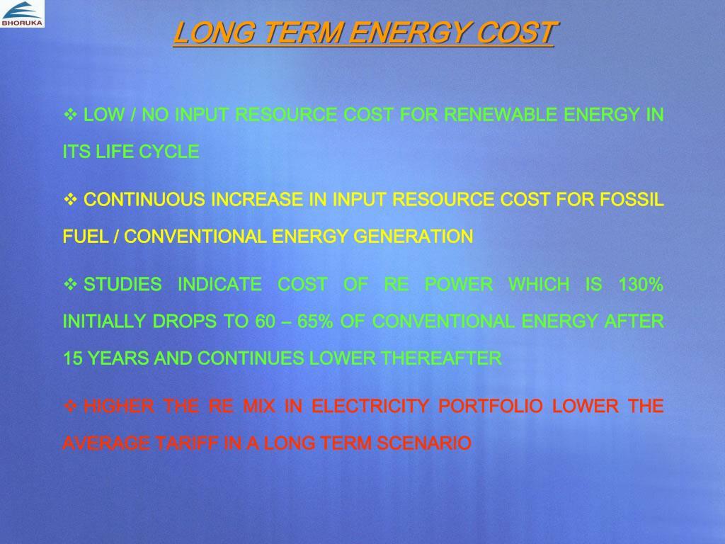 LONG TERM ENERGY COST