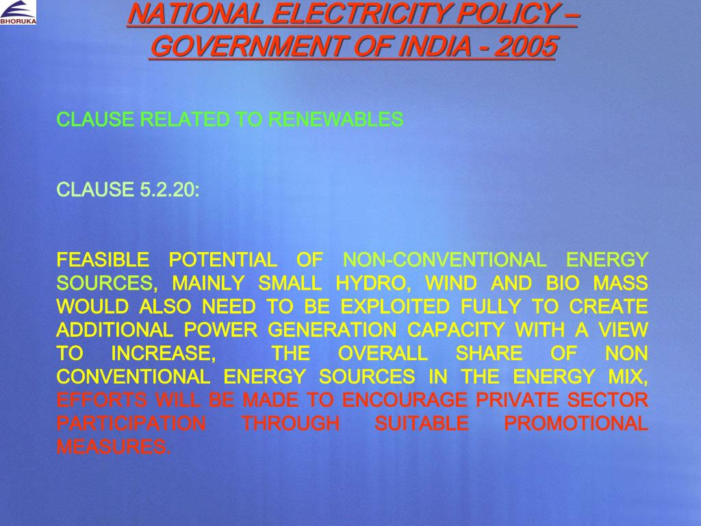 NATIONAL ELECTRICITY POLICY – GOVERNMENT OF INDIA - 2005
