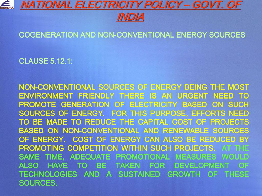 NATIONAL ELECTRICITY POLICY – GOVT. OF INDIA