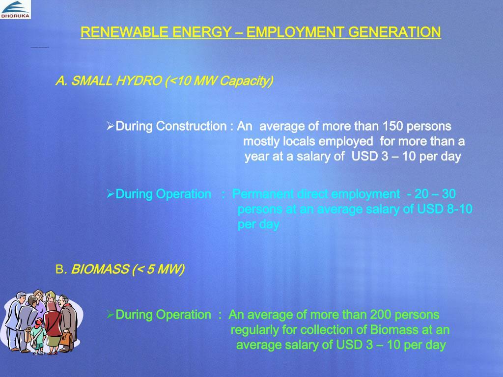 RENEWABLE ENERGY – EMPLOYMENT GENERATION