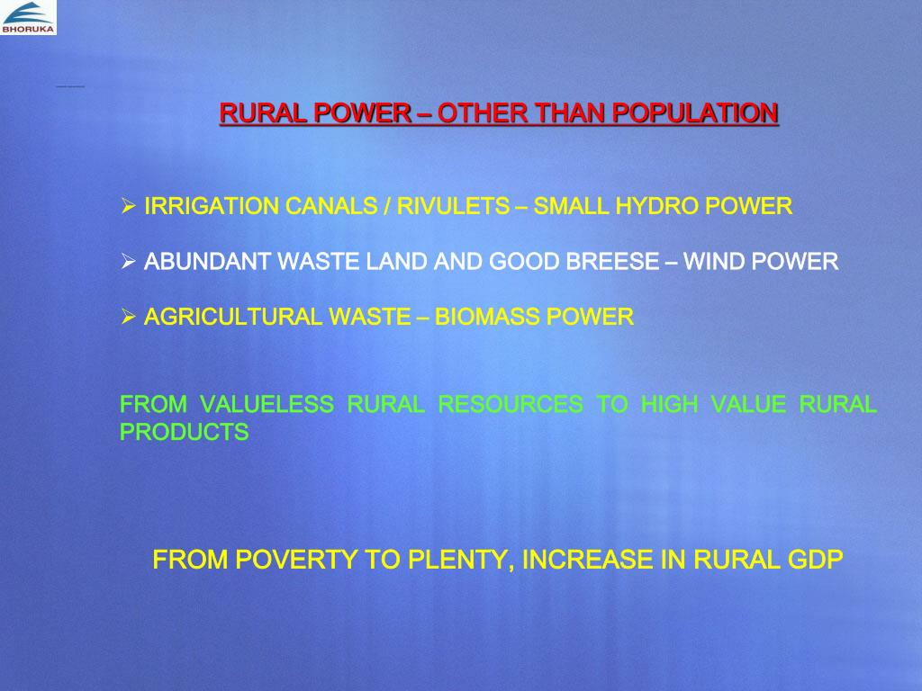 RURAL POWER – OTHER THAN POPULATION