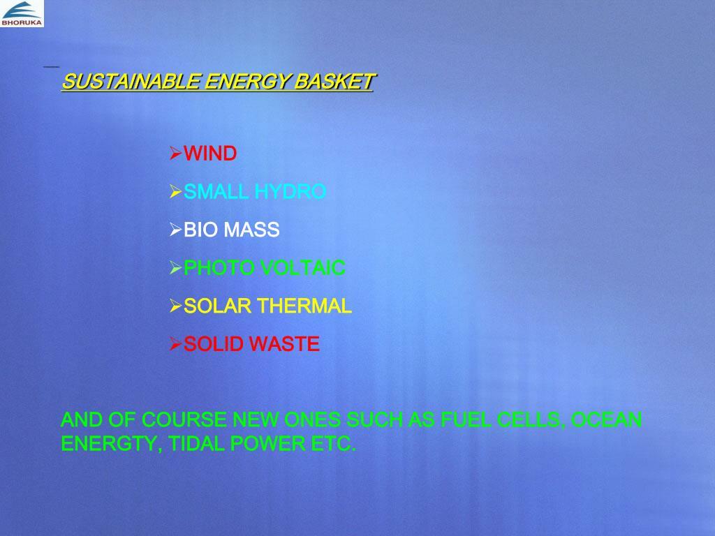 SUSTAINABLE ENERGY BASKET