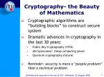 cryptography the beauty of mathematics