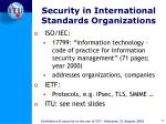 security in international standards organizations