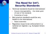 the need for int l security standards