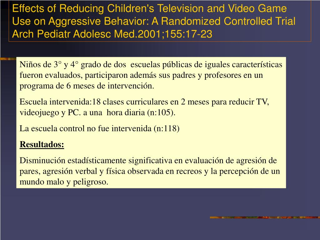 Effects of Reducing Children's Television and Video Game Use on Aggressive Behavior: A Randomized Controlled Trial