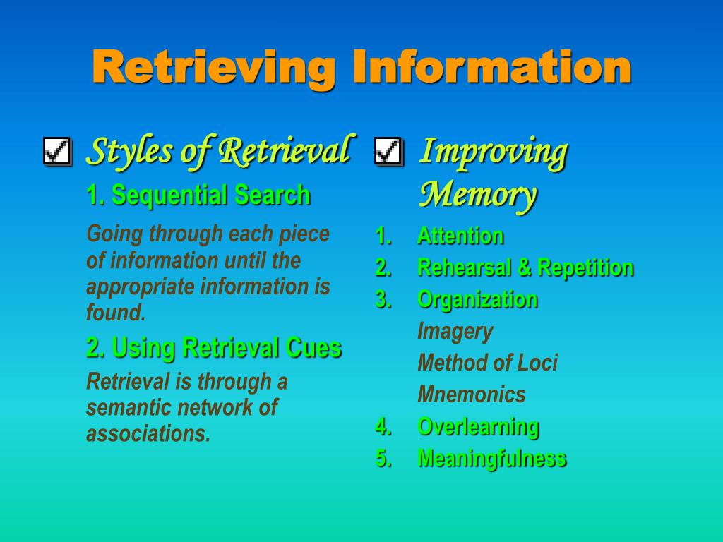 Styles of Retrieval