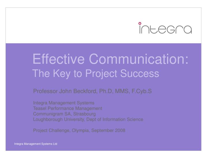 effective communication the key to project success n.