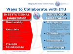 ways to collaborate with itu