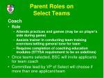 parent roles on select teams