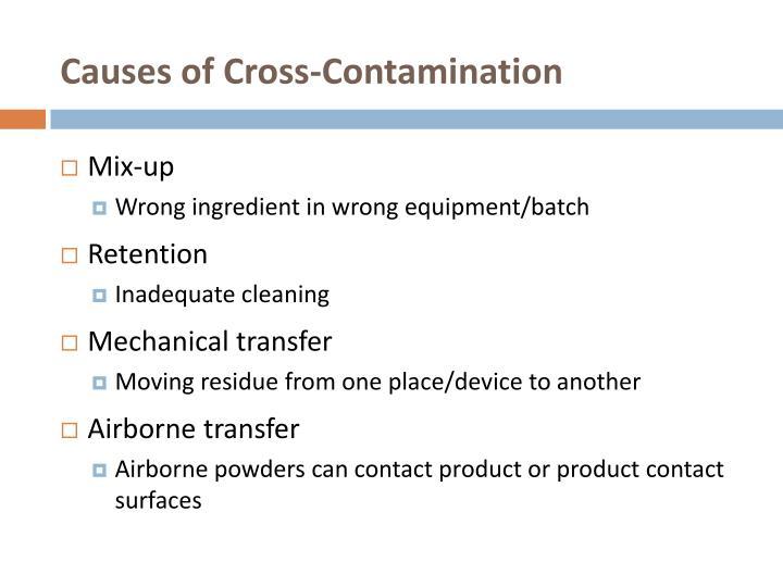 Causes of cross contamination