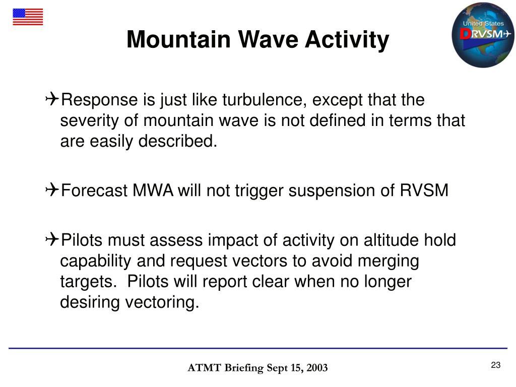 Mountain Wave Activity