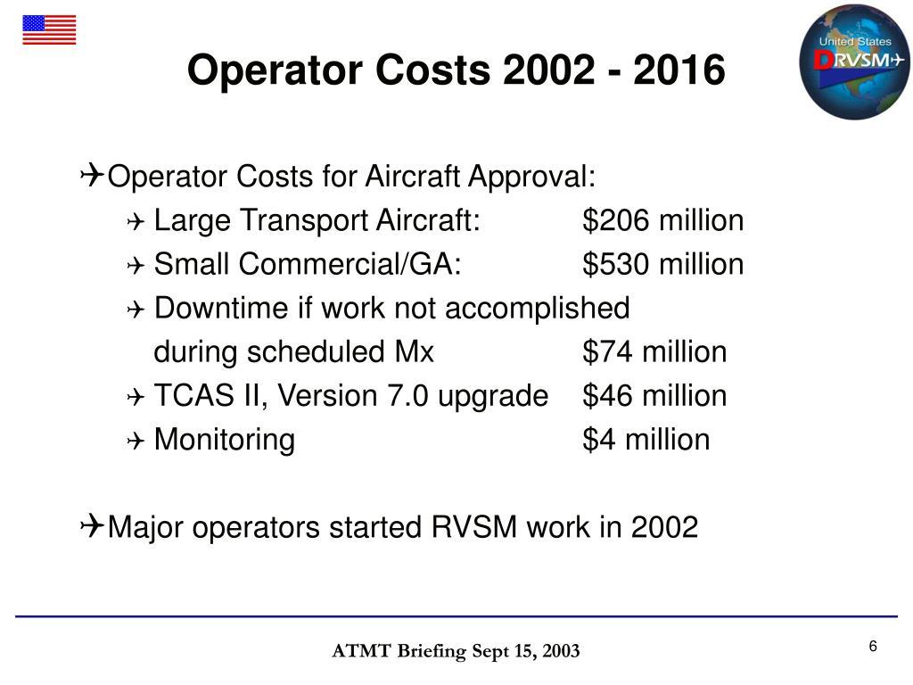 Operator Costs 2002 - 2016