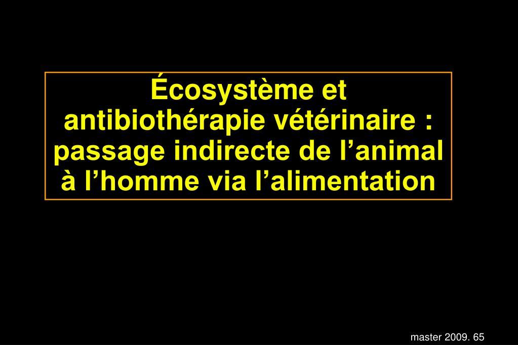 Écosystème et antibiothérapie vétérinaire : passage indirecte de l'animal à l'homme via l'alimentation