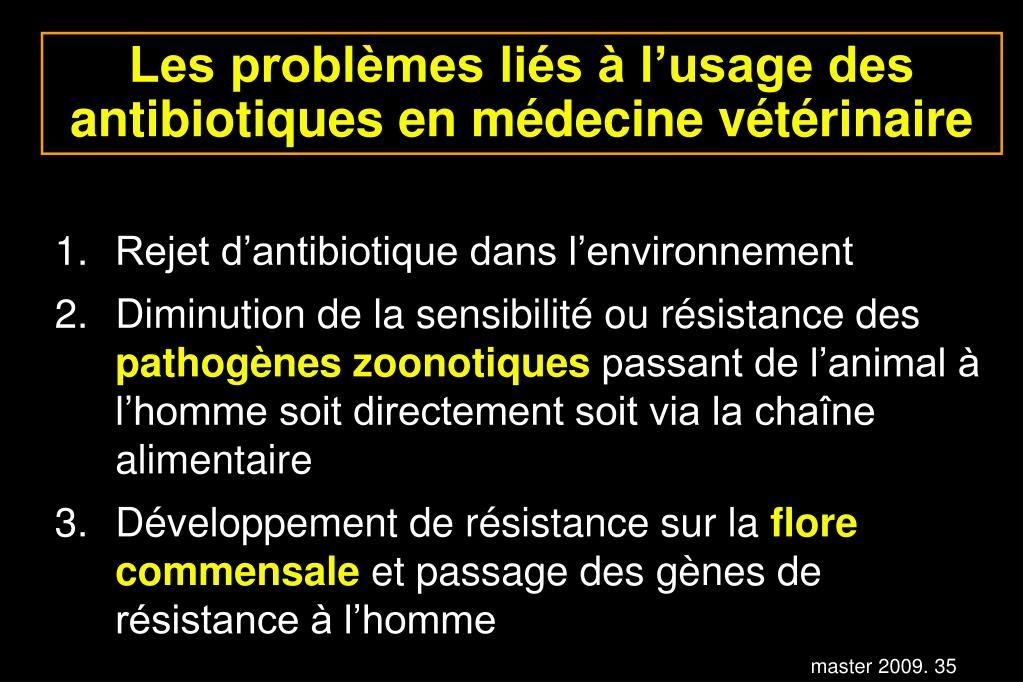 Les problèmes liés à l'usage des antibiotiques en médecine vétérinaire
