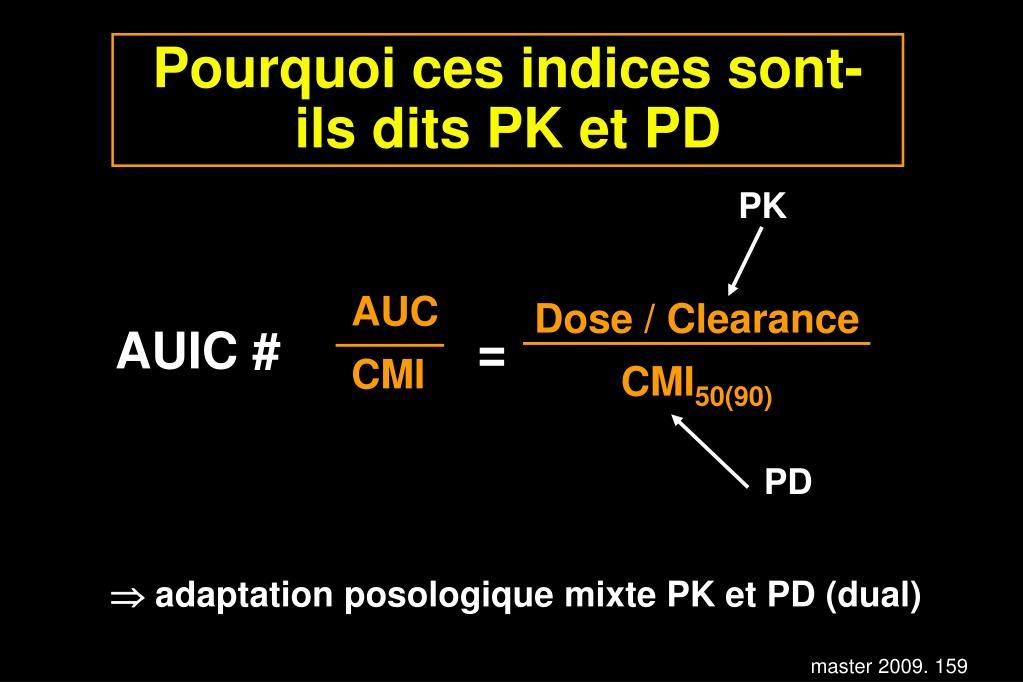 Pourquoi ces indices sont-ils dits PK et PD