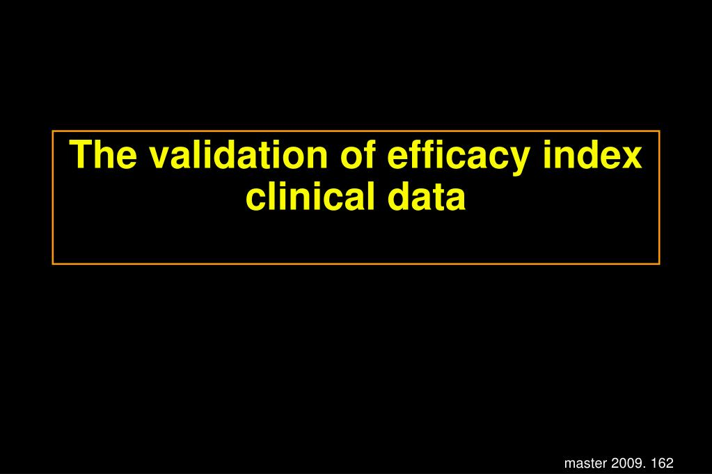 The validation of efficacy index