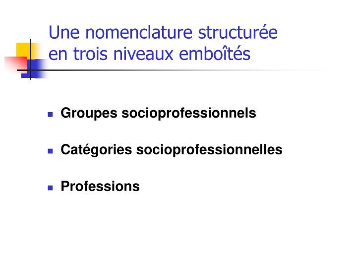 Une nomenclature structur e en trois niveaux embo t s