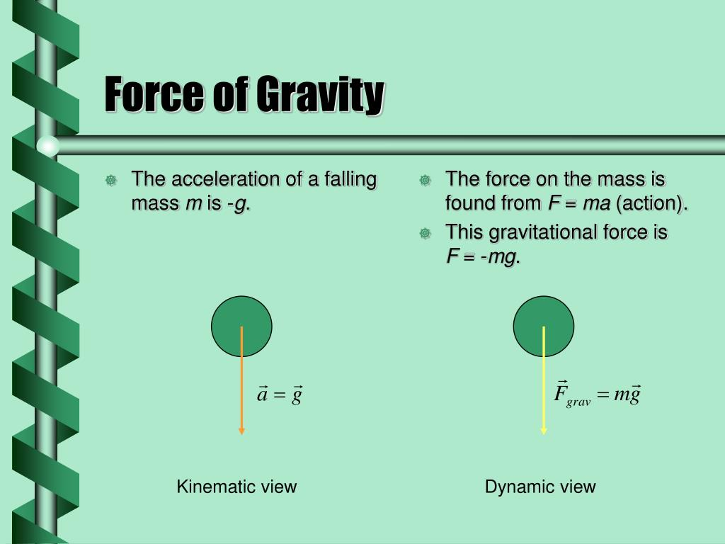 The acceleration of a falling mass