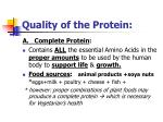 quality of the protein
