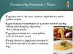 functionality research pasta