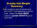 gravity and weight summary